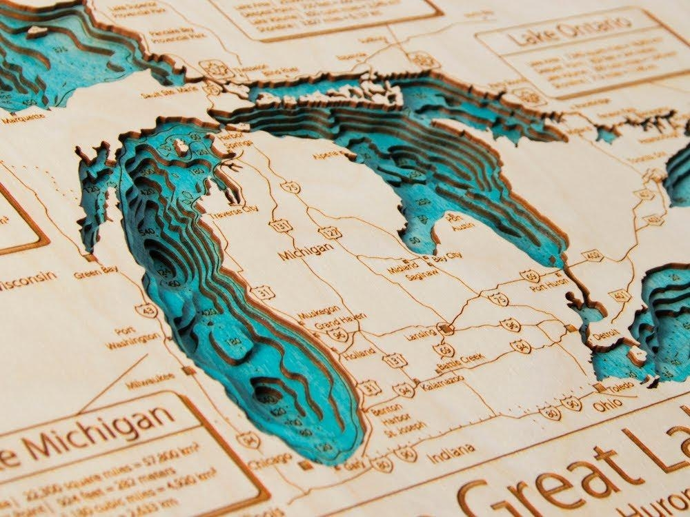 Lake Art – 3D Wooden Maps – Youtube Throughout Map Wall Art Toronto (Image 5 of 20)