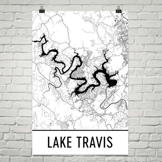 Lake Travis Texas Austin Art Austin Map Lake Travis Tx Intended For Lake Map Wall Art (View 20 of 20)