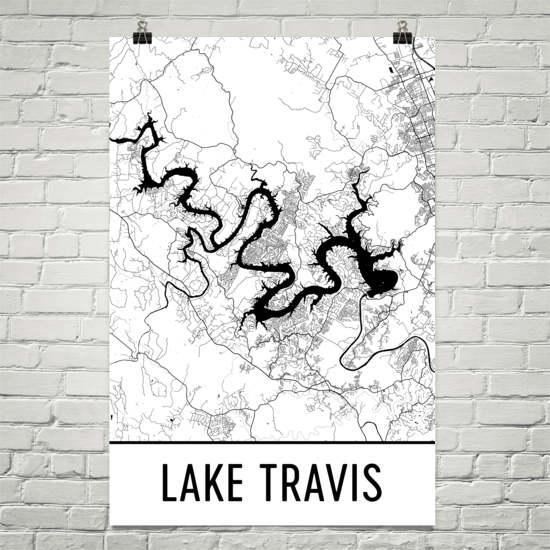Lake Travis Texas Austin Art Austin Map Lake Travis Tx Intended For Lake Map Wall Art (Image 10 of 20)