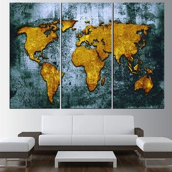 Large Canvas World Map Wall Art Canvas From Artcanvasshop On Etsy Regarding Worldmap Wall Art (Image 6 of 20)