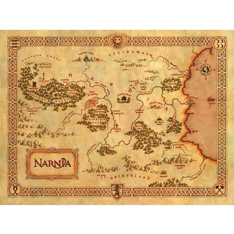 Large Of Vintage Home Decor Narnia Treasure Map Canvas Painting Throughout Treasure Map Wall Art (Image 7 of 20)