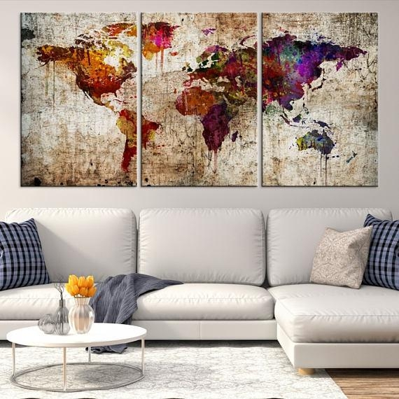 Large Wall Art World Map Canvas Print Extra Large World Map For Large Map Wall Art (Image 7 of 20)