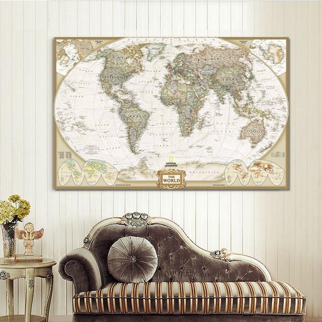 Large Wall Art World Map Painting On Canvas Prints Europe Vintage For Europe Map Wall Art (View 8 of 20)