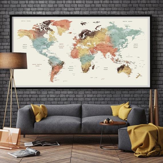 Large Wall Art World Map Push Pin Print / Watercolor World Map Pertaining To Large World Map Wall Art (Image 6 of 20)