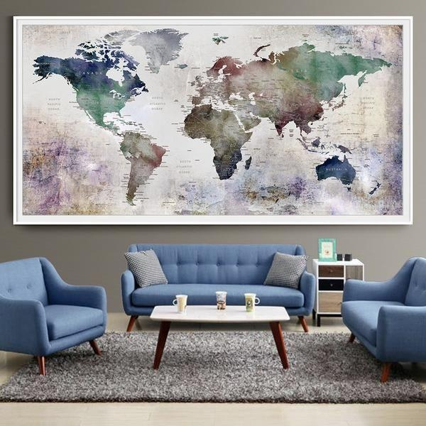 Large Wall Posters 25 Best World Map Wall Ideas On Pinterest With Large World Map Wall Art (Image 7 of 20)
