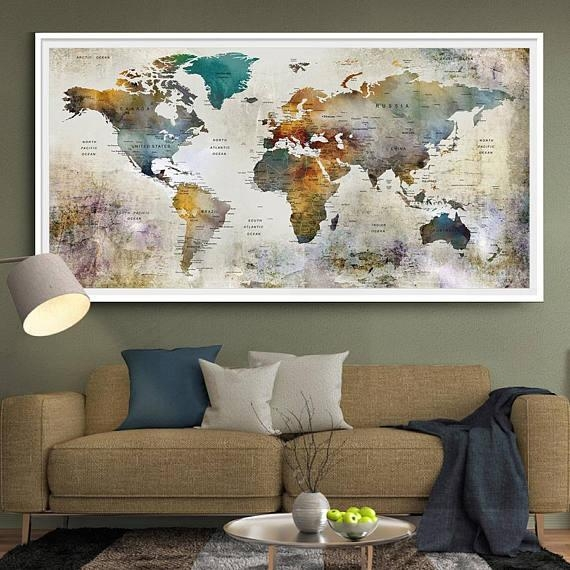 Large Watercolor World Map Print World Map Wall Art Detailed For Large Map Wall Art (Image 9 of 20)