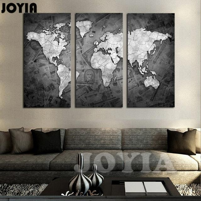 Large World Map Wall Art Canvas Black Metalic Modern Paintings Inside Map Wall Art Maps (View 7 of 20)