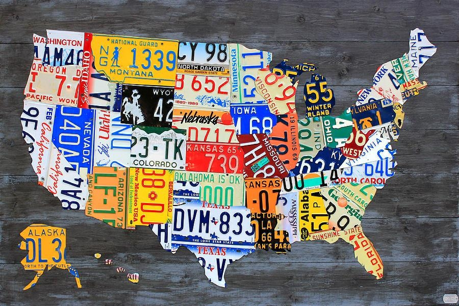 License Plate Map Of The Usa On Gray Reclaimed Wood Vintage Intended For License Plate Map Wall Art (Image 5 of 20)