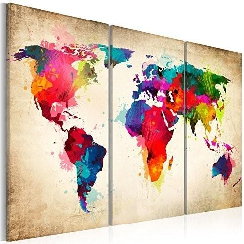 Living Room : Fabulous Abstract World Map Wall Art Project World Intended For Abstract World Map Wall Art (Image 7 of 20)