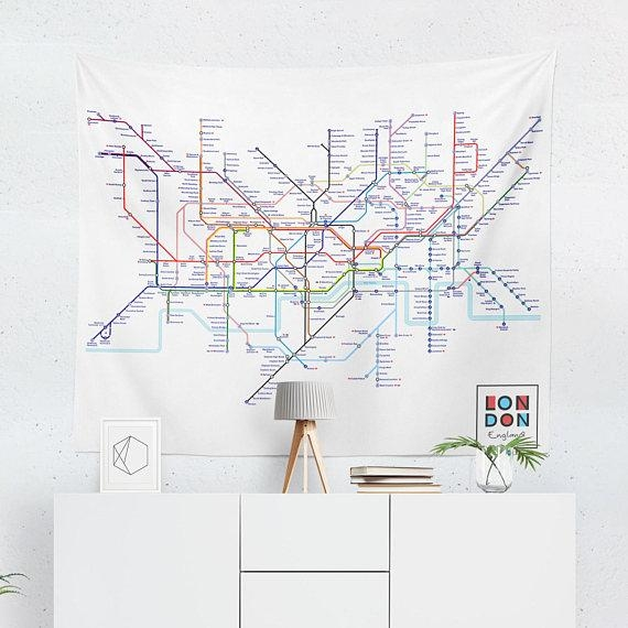 London Tapestry London Tube Map Wall Tapestry London Wall Intended For London Tube Map Wall Art (Image 12 of 20)