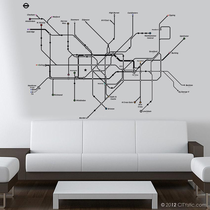 London Underground Map Wall Stickers – London Underground Wall Throughout Tube Map Wall Art (Image 16 of 20)