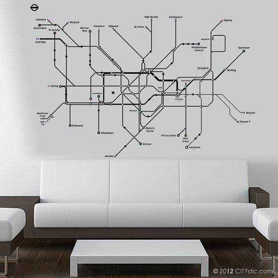 London Wall Decal Huge Underground Tube Map With Color Dots Throughout London Tube Map Wall Art (View 5 of 20)