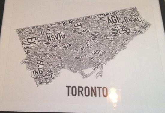 Love The Toronto Word Map On The Wall – Picture Of Dundas & Carlaw Throughout Map Wall Art Toronto (Image 6 of 20)