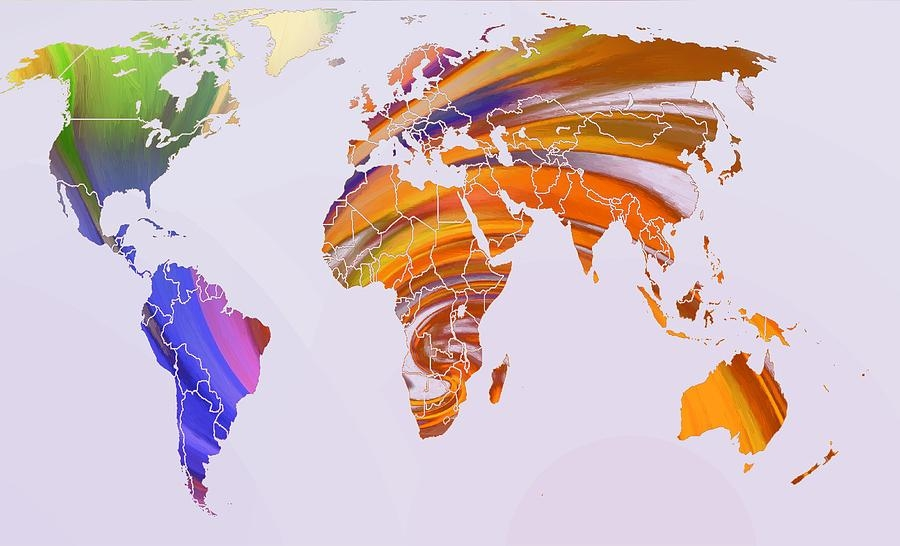 Map Abstract Painted Digital Artsteve K Pertaining To Abstract World Map Wall Art (View 5 of 20)
