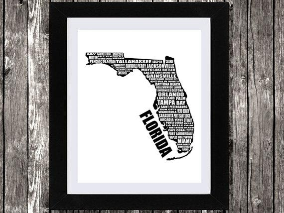 Map Of Florida Typographic Florida Map Florida State Map Regarding Florida Map Wall Art (Image 12 of 20)