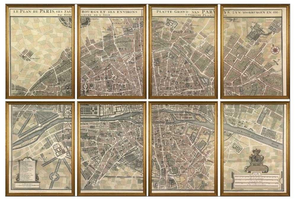 Map Of Paris Wall Art With Gold Frame | Home Interior & Exterior Throughout Paris Map Wall Art (Image 9 of 20)