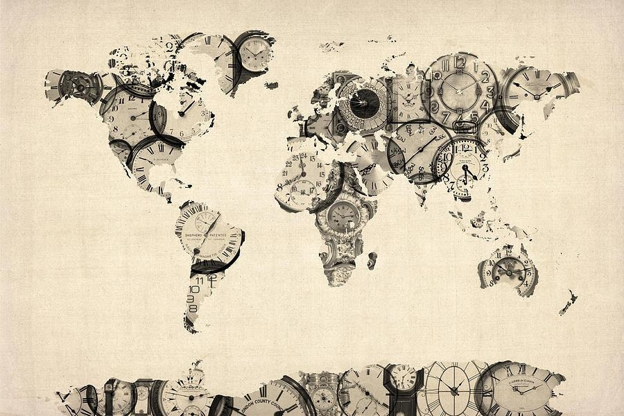 Map Of The World Map From Old Clocks Digital Artmichael Tompsett Regarding World Map Wall Artwork (Image 14 of 20)