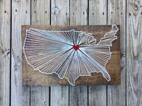 Map String Art Wood Map Of Us Large Wood Map Wood Us Map Throughout String Map Wall Art (View 7 of 20)
