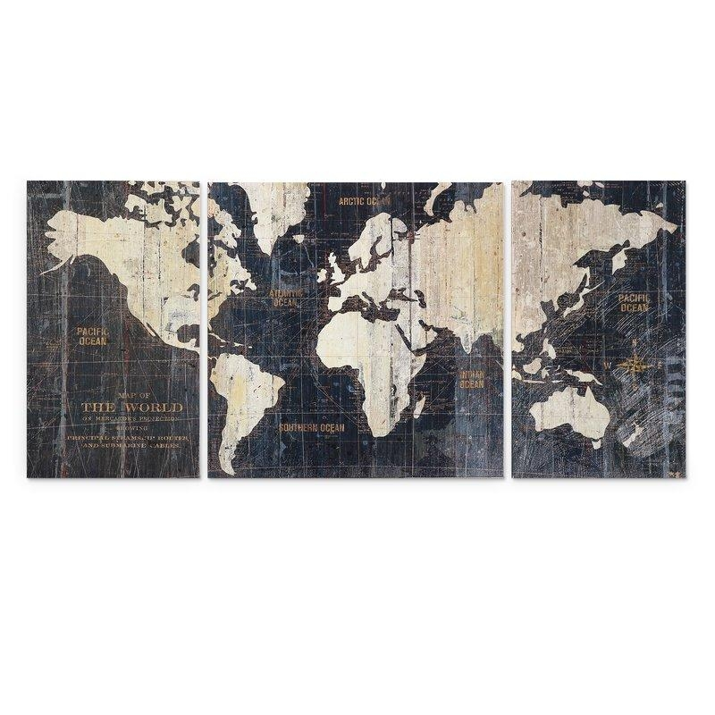 Mercury Row 'old World Map Blue' 3 Piece Graphic Art Print Set On With Regard To World Map Wall Art Print (Image 8 of 20)