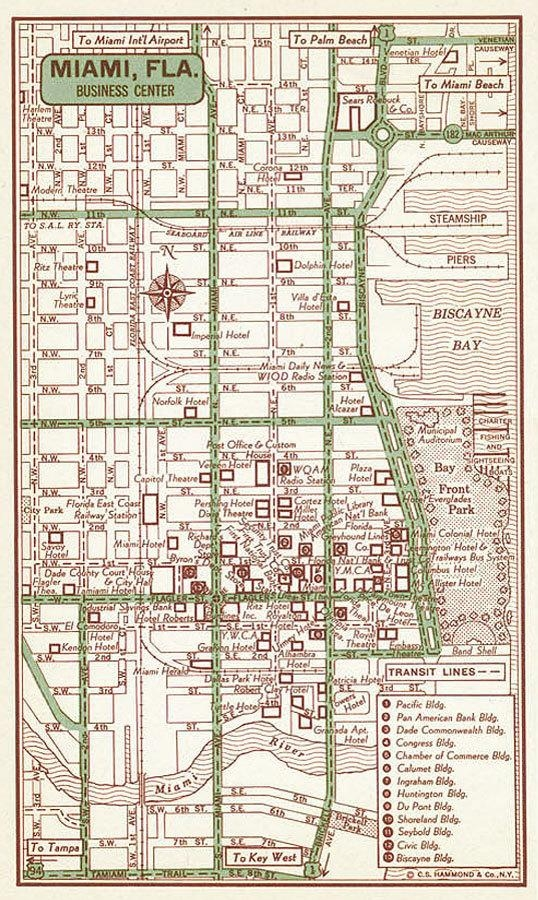 Miami Old Map Miami Print Miami Street Map Miami Vintage Throughout Florida Map Wall Art (Image 13 of 20)