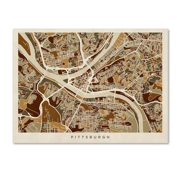 Michael Tompsett 'pittsburgh Pennsylvania Street Map' Canvas Wall In Pittsburgh Map Wall Art (View 3 of 20)