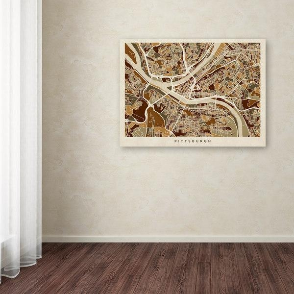 Michael Tompsett 'pittsburgh Pennsylvania Street Map' Canvas Wall Regarding Pittsburgh Map Wall Art (View 19 of 20)