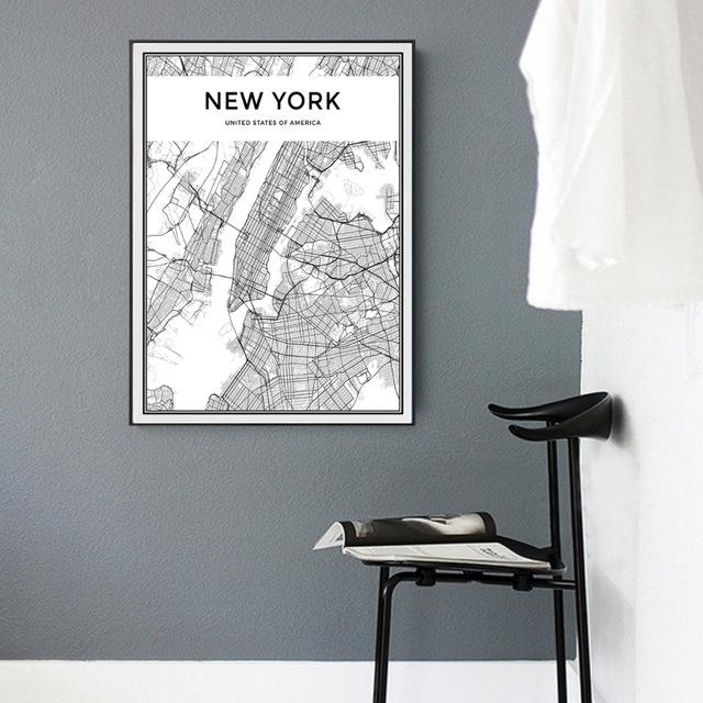 Minimalist New York City Map Canvas Painting Black And White Pop Inside New York City Map Wall Art (View 3 of 20)
