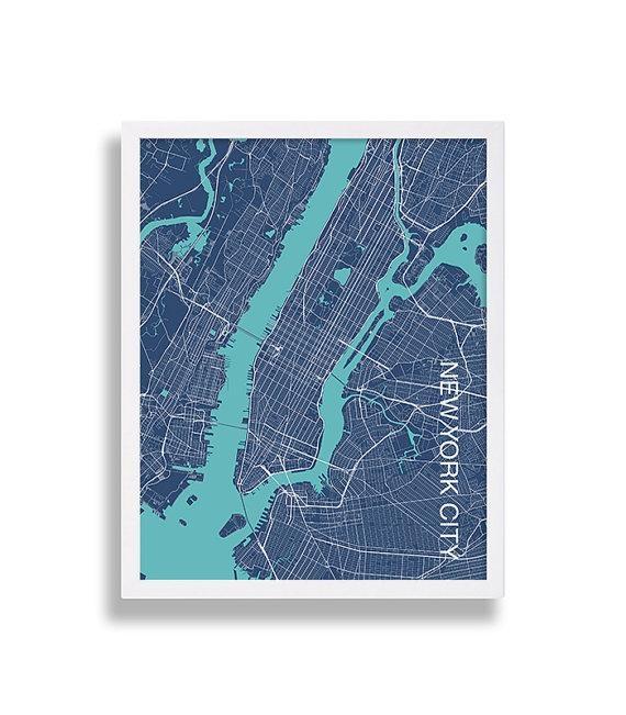Modern Art Print New York City Print Nyc Map Print Manhattan Intended For City Prints Map Wall Art (View 14 of 20)
