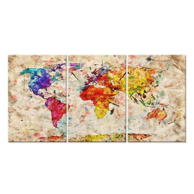 Modern Gallery Artwork World Map In Watercolor With Natural Color For Abstract World Map Wall Art (Image 9 of 20)