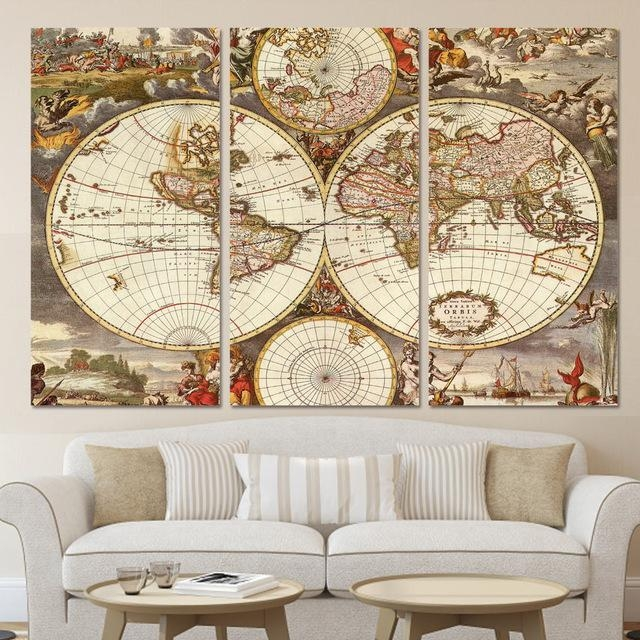 Modern Home Decor Wall Art Frame Posters Hd Printed Canvas 3 Throughout Vintage World Map Wall Art (Image 10 of 20)