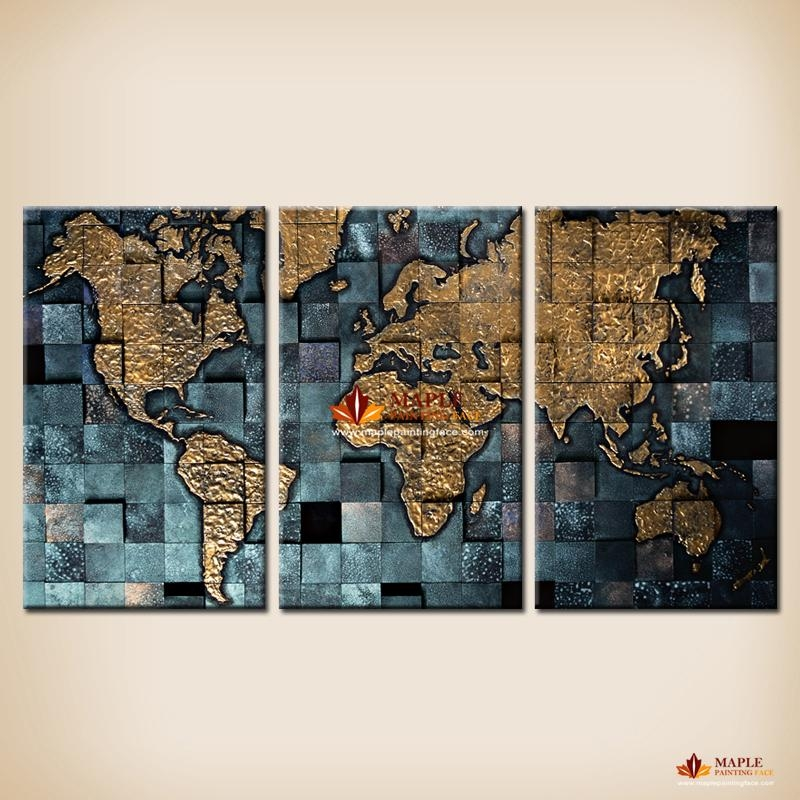 Modern Wall Art The Abstract World Map Painting On Canvas Canvas In World Map Wall Art Print (Image 9 of 20)