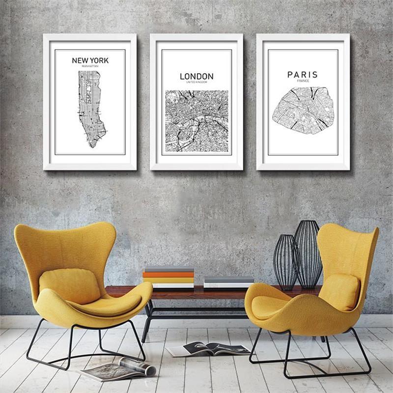 Modern World Map Decorative Painting Black White Minimalist Art Pertaining To City Map Wall Art (Image 12 of 20)