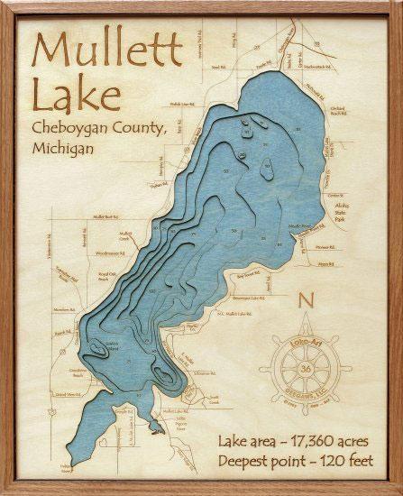 Mullett Lake 3D Depth Map – Grandpa Shorters For Lake Map Wall Art (Image 12 of 20)