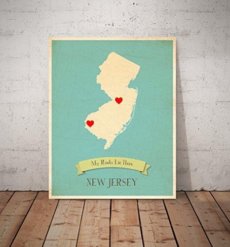 My Roots New Jersey Personalized Wall Map 11X14, Kid's New Jersey For State Map Wall Art (Image 8 of 20)