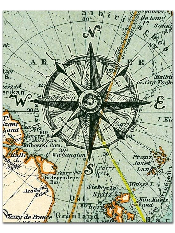 Nautical Map Compass Print Compass On Map Poster Nautical In Nautical Map Wall Art (Image 17 of 20)