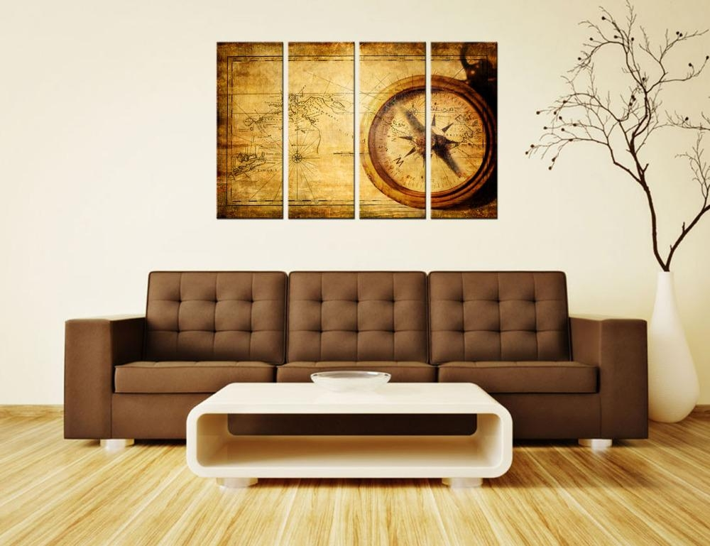 Navigation Canvas Painting Vintage World Map Wall Art Home Decor Inside Vintage World Map Wall Art (Image 11 of 20)