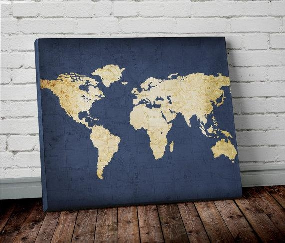Navy World Map Wall Art Canvas World Map Print In Navy Blue In Worldmap Wall Art (Image 9 of 20)