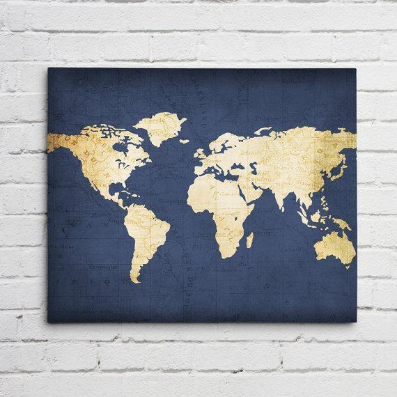 Navy World Map Wall Art Canvas World Map Print In Navy Blue Within World Map Wall Art Print (View 20 of 20)