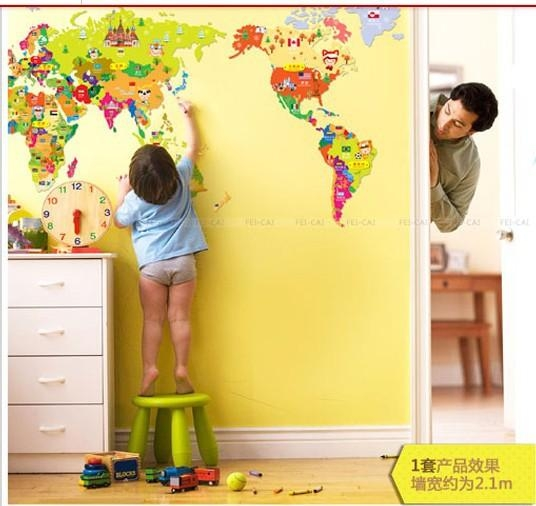 New 2013 Free Shipping Cheap Wall Sticker Cartoon World Map With Kids World Map Wall Art (Image 15 of 20)