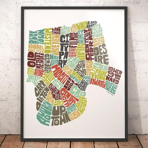 New Orleans Map Art New Orleans Art Print New Orleans Throughout New Orleans Map Wall Art (View 5 of 20)