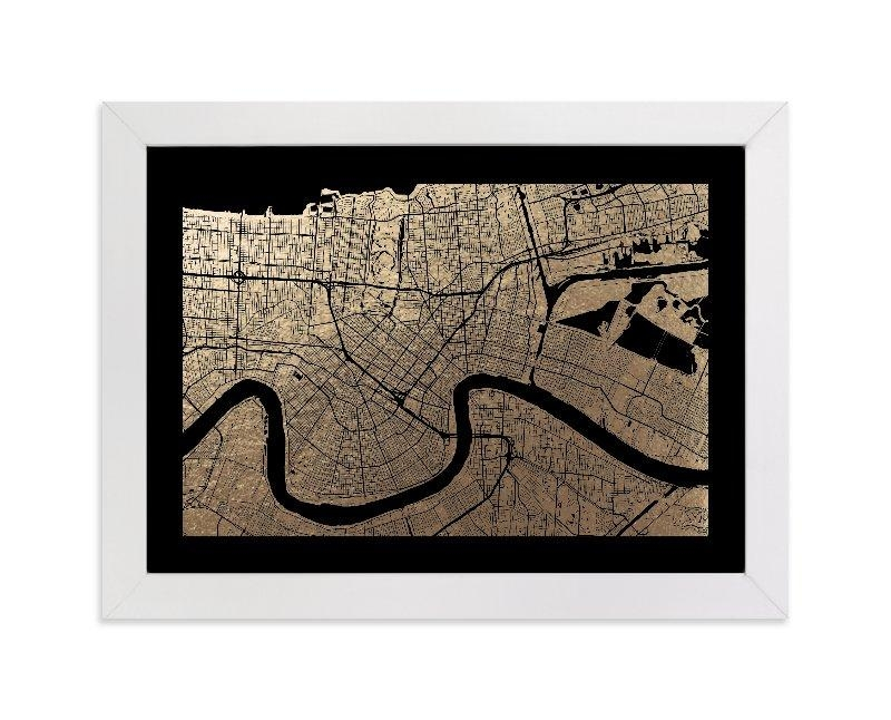 New Orleans Map Foil Pressed Wall Artalex Elko Design | Minted Inside New Orleans Map Wall Art (Image 8 of 20)