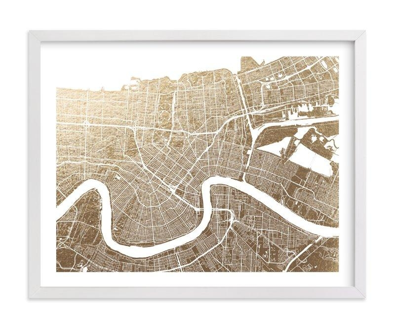 New Orleans Map Foil Pressed Wall Artalex Elko Design | Minted With Regard To New Orleans Map Wall Art (View 3 of 20)