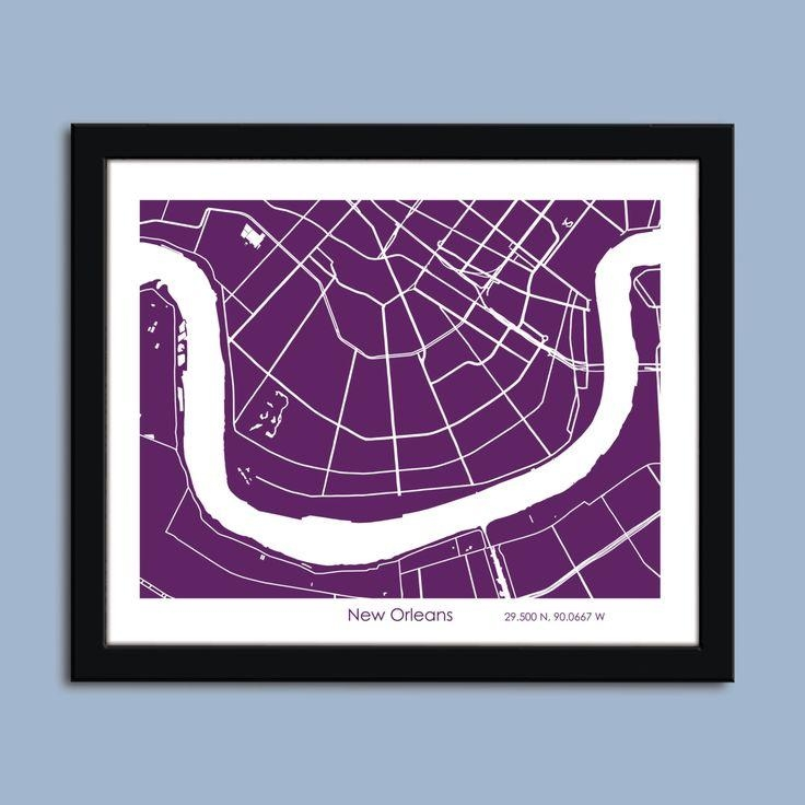 New Orleans Map, New Orleans City Map Art, New Orleans Wall Art With Regard To New Orleans Map Wall Art (View 6 of 20)