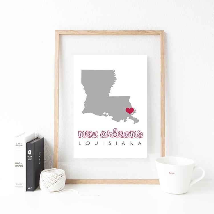 New Orleans Map, New Orleans Wall Art, Printable Map Wall Art For New Orleans Map Wall Art (Image 17 of 20)