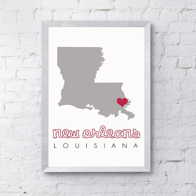 New Orleans Map, New Orleans Wall Art, Printable Map Wall Art For New Orleans Map Wall Art (Image 16 of 20)