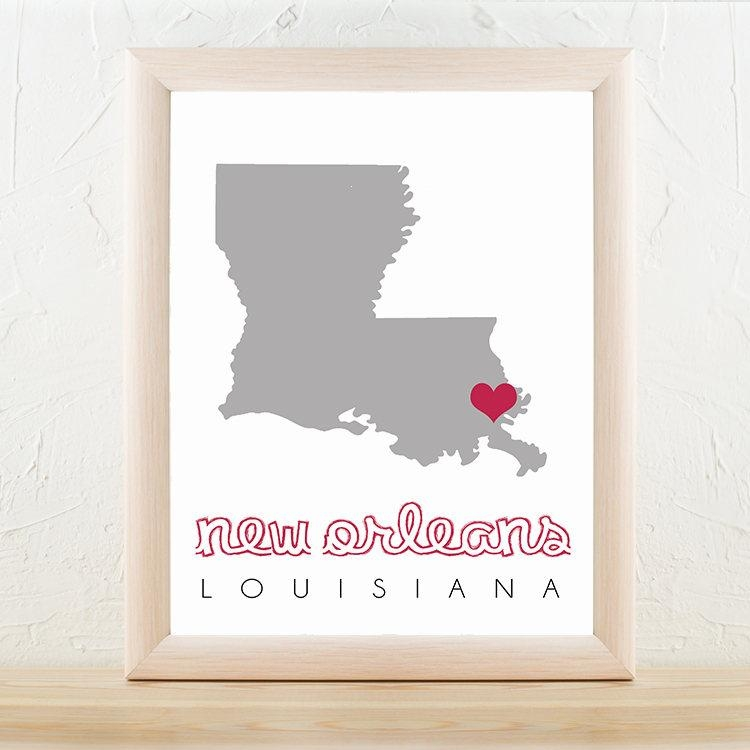 New Orleans Map, New Orleans Wall Art, Printable Map Wall Art Throughout New Orleans Map Wall Art (Image 18 of 20)