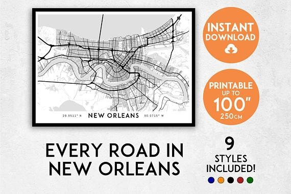 New Orleans Map Print New Orleans Print New Orleans City Regarding New Orleans Map Wall Art (Image 13 of 20)