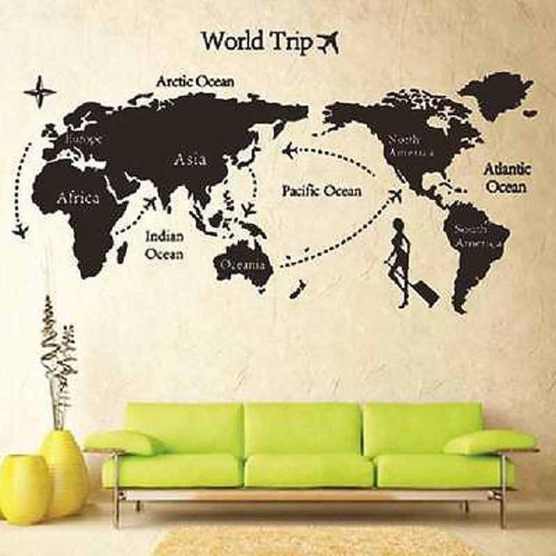 New World Trip Travel Map Wall Stickers Art Vinyl Decal Home Decor Regarding Travel Map Wall Art (Image 9 of 20)