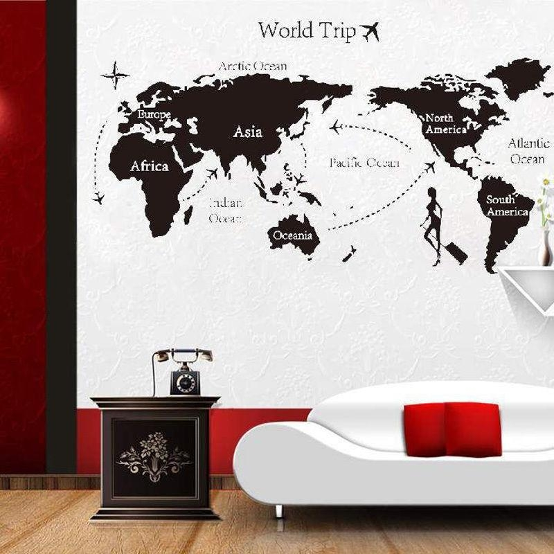 New World Trip Travel Map Wall Stickers Art Vinyl Decal Home Decor With Travel Map Wall Art (Image 10 of 20)