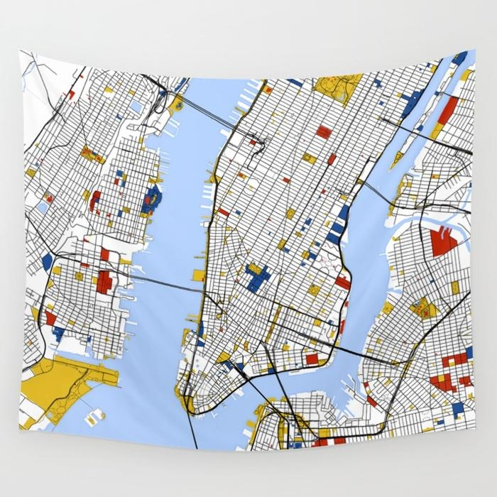 New York City , Map Art Print / Street Map Art Wall Tapestry Regarding New York City Map Wall Art (View 20 of 20)